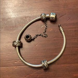 Pandora base bracelet with clips and chain